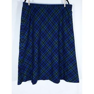 Basic Editions Skirts - Blue, Black, and Green Plaid Maxi Long Skirt